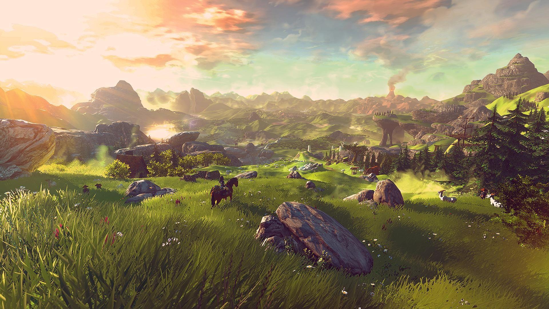 The open landscape in Zelda: Breath of the Wild.