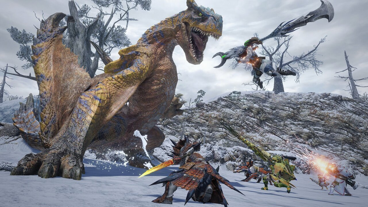 A group of hunters fighting Tigrex.