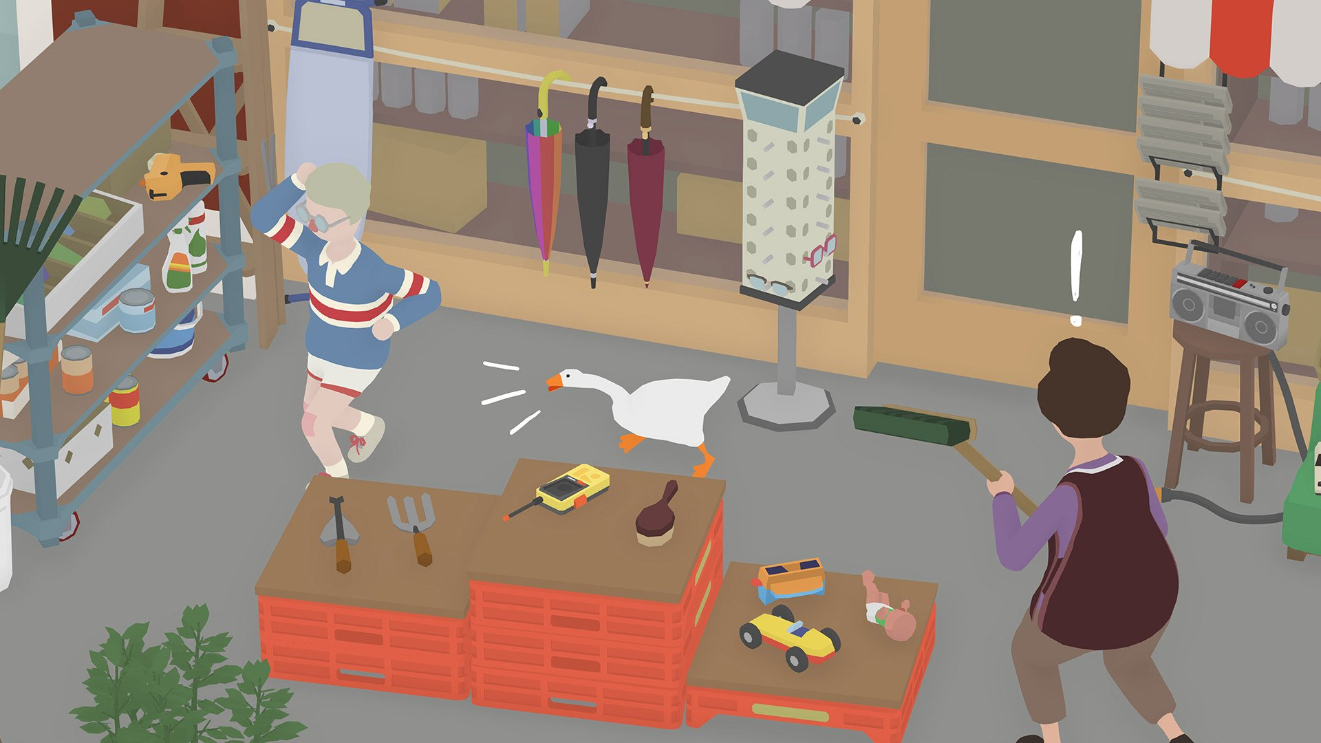 Honking at a poor kid in Untitled Goose Game.