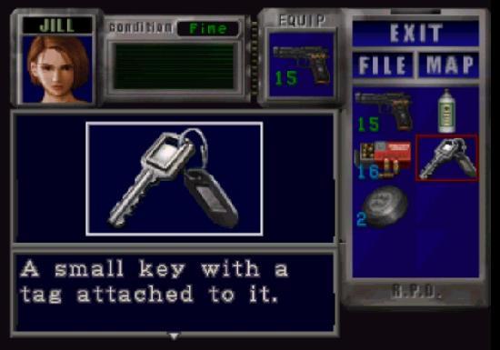 Resident Evil inventory