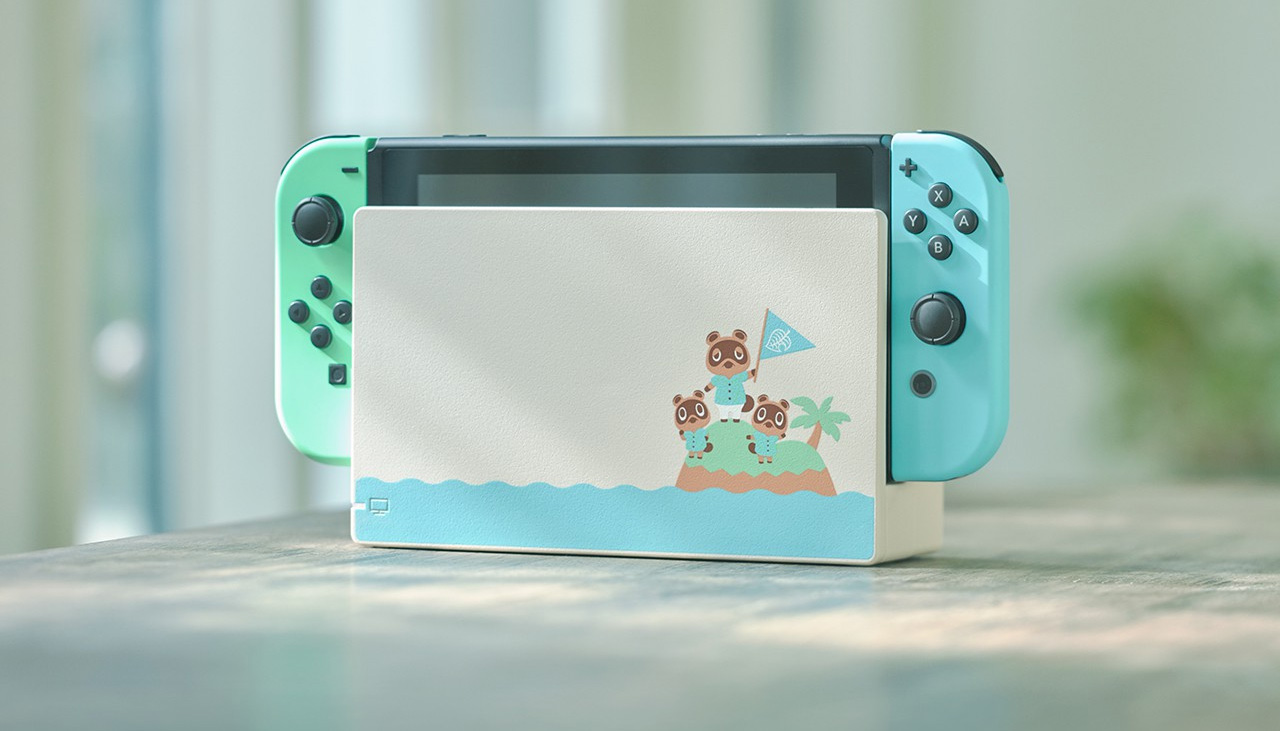 The Nook family appears on the Animal Crossing Switch dock