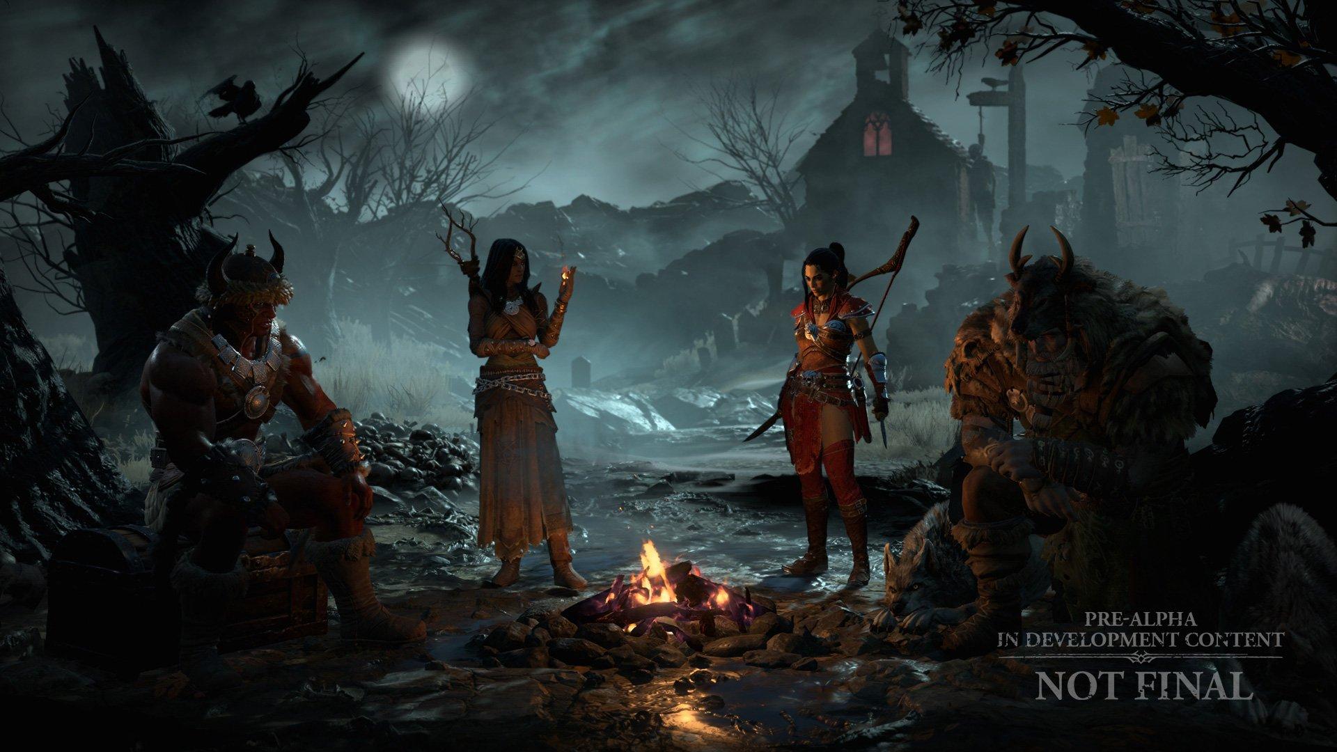 Diablo IV campfire character-select screen