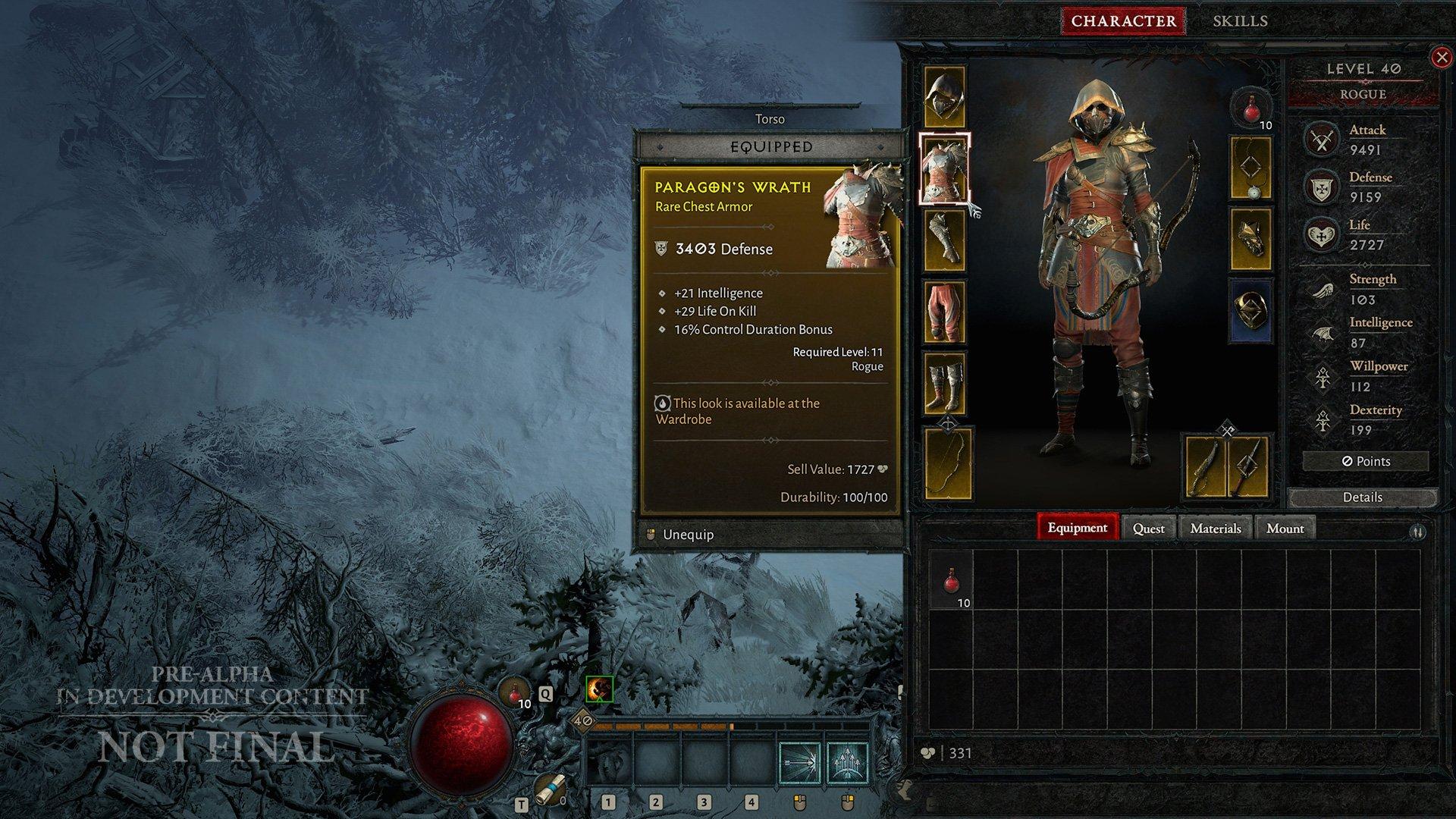 Diablo IV inventory screen