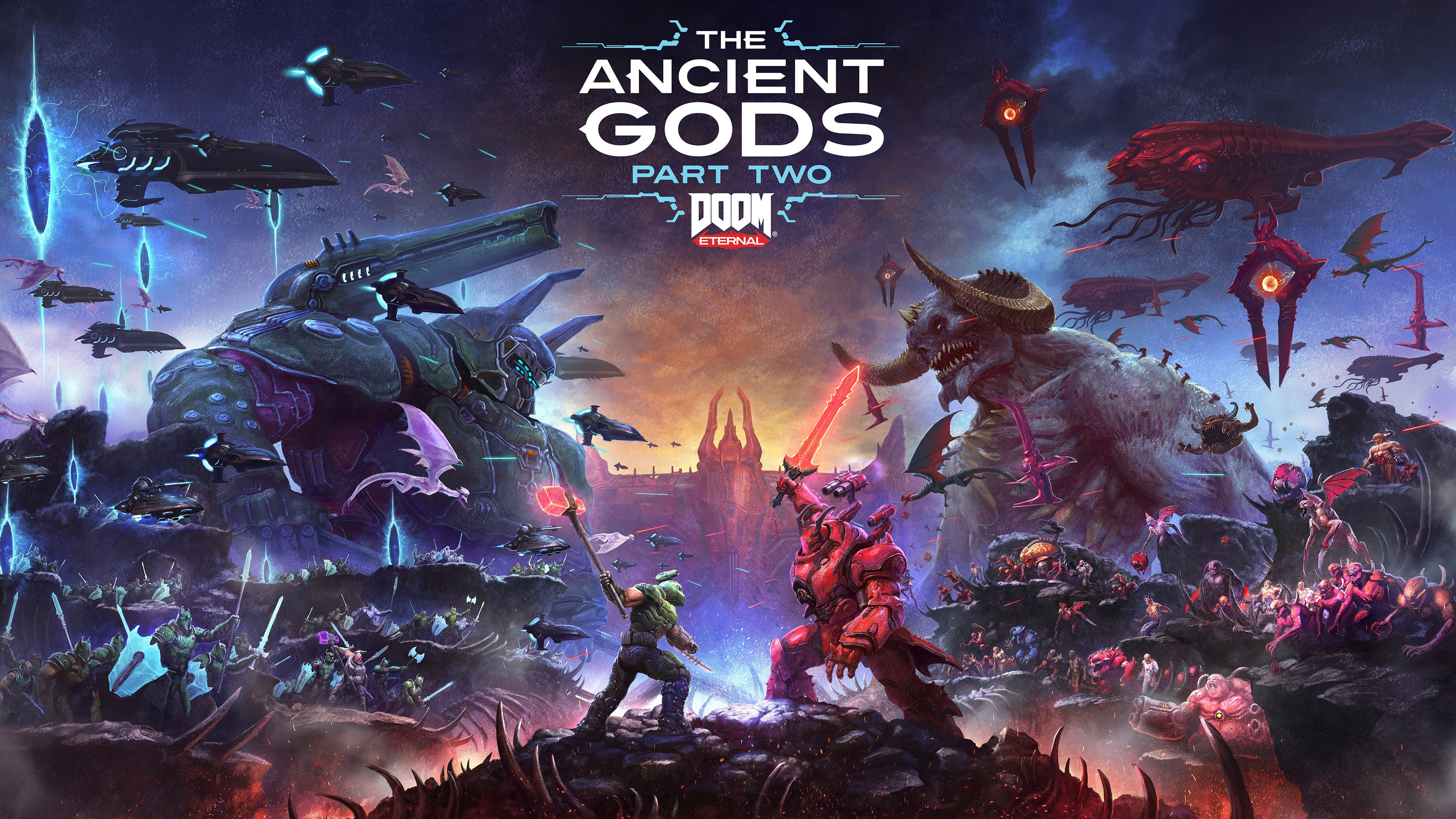 This is wallpaper-worthy key art for Doom Eternal: The Ancient Gods - Part Two.