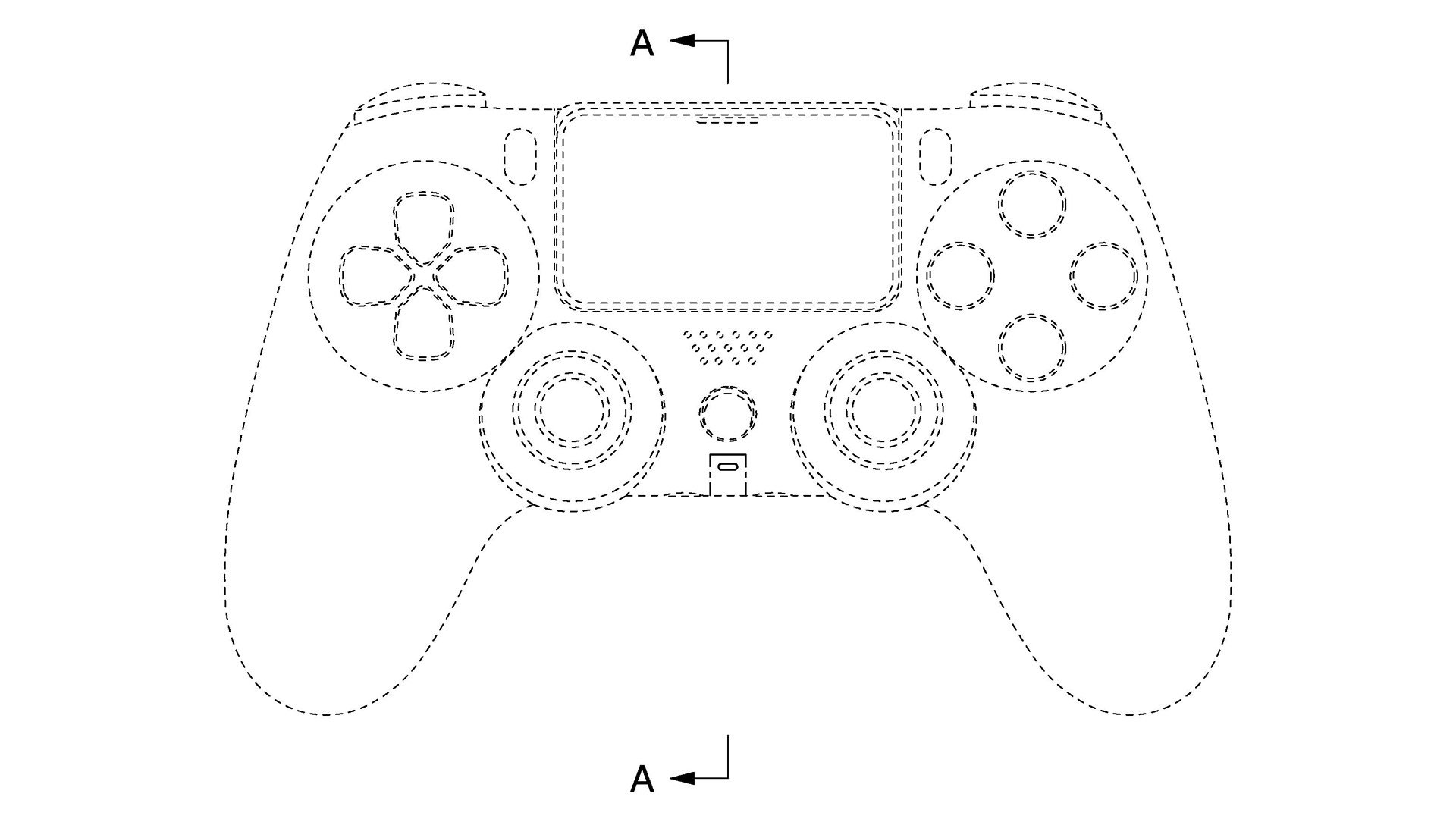 A front-facing view of the DualShock 5