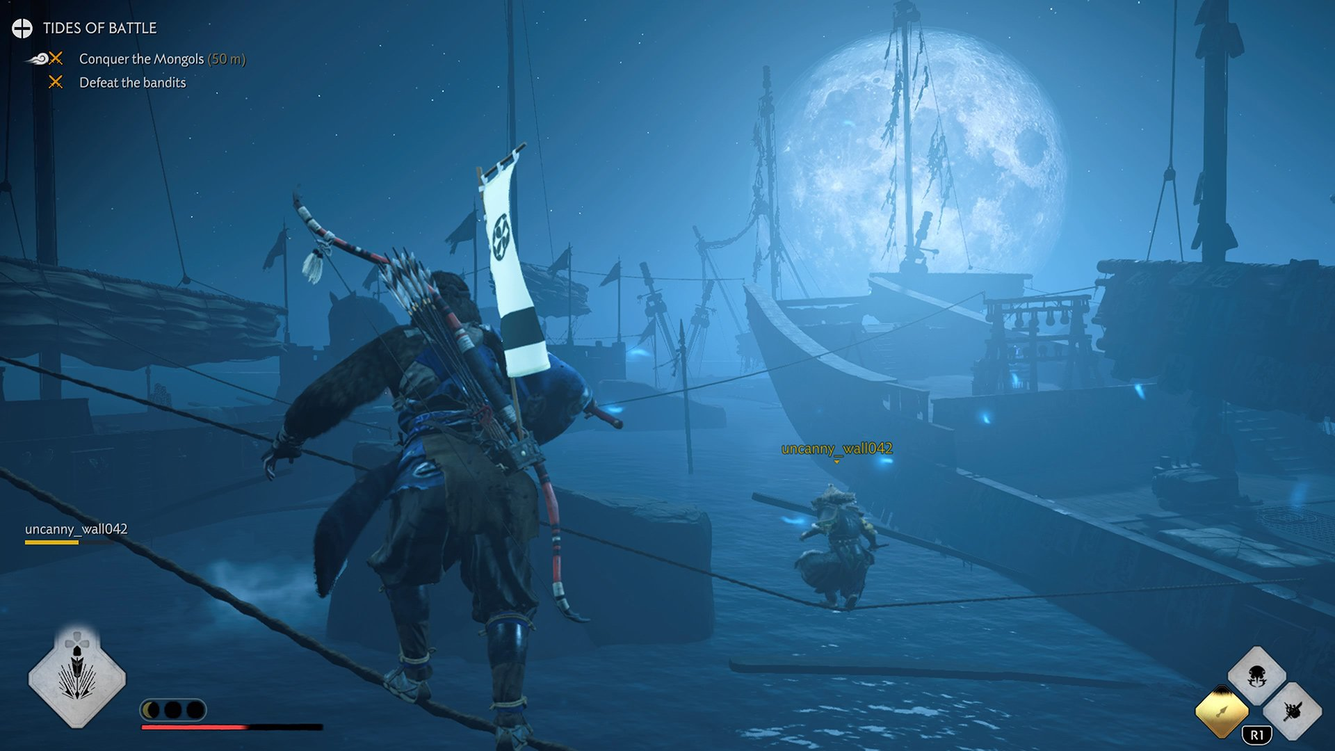 Stealthing under the moonlight across ships