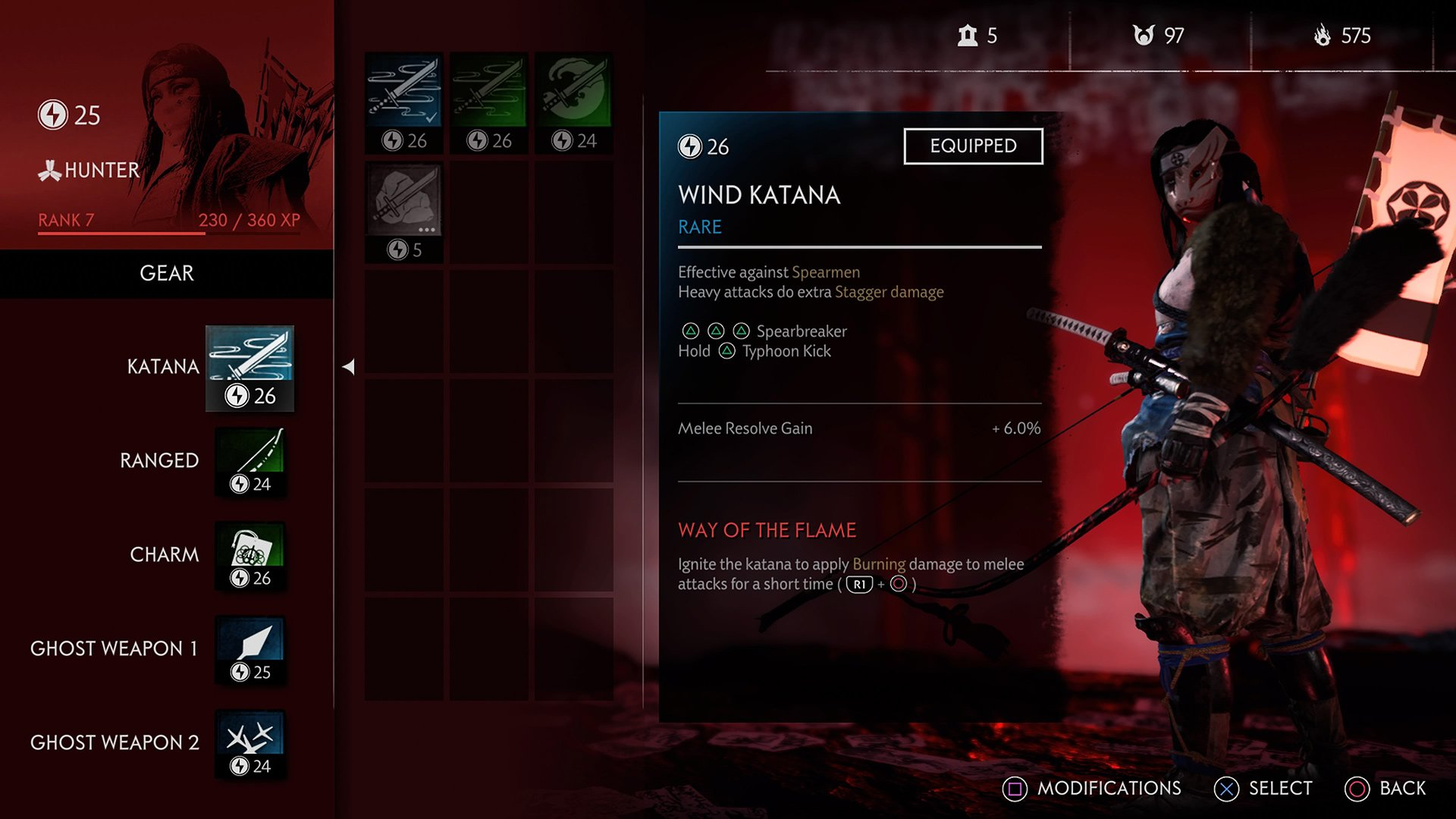 Your gear loadout in Legends includes a melee and ranged weapon, charm, and two ghost weapons