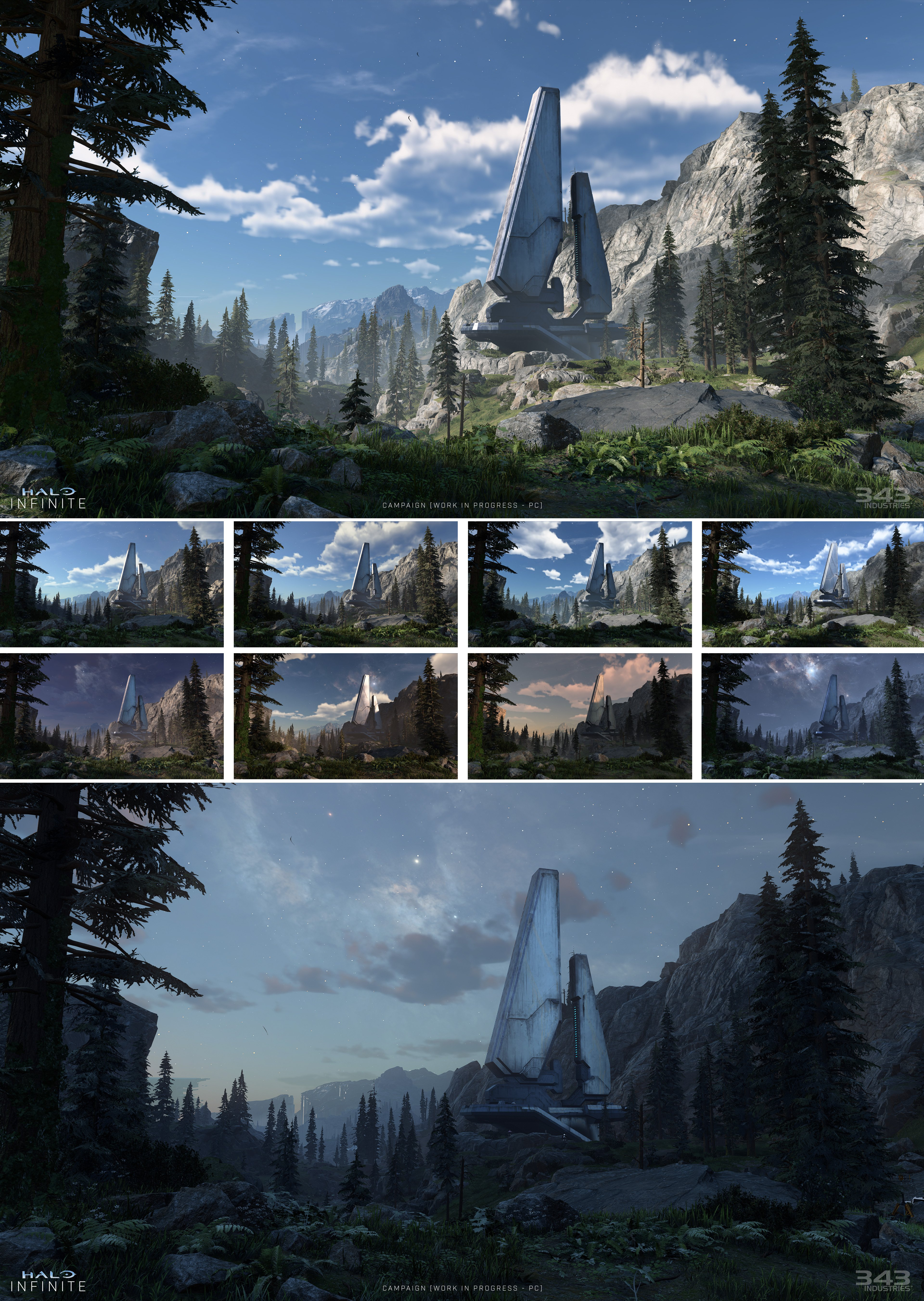 This image compilation illustrates the time-of-day lighting in Halo Infinite.