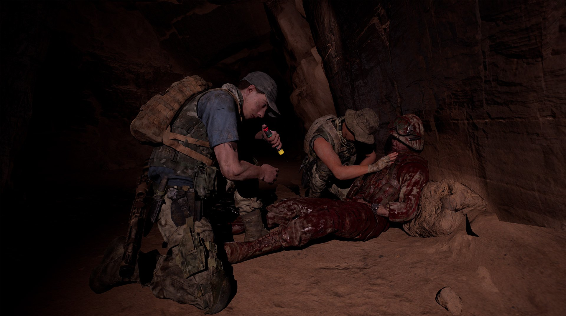 Soldiers trying to save one of their own in House of Ashes.