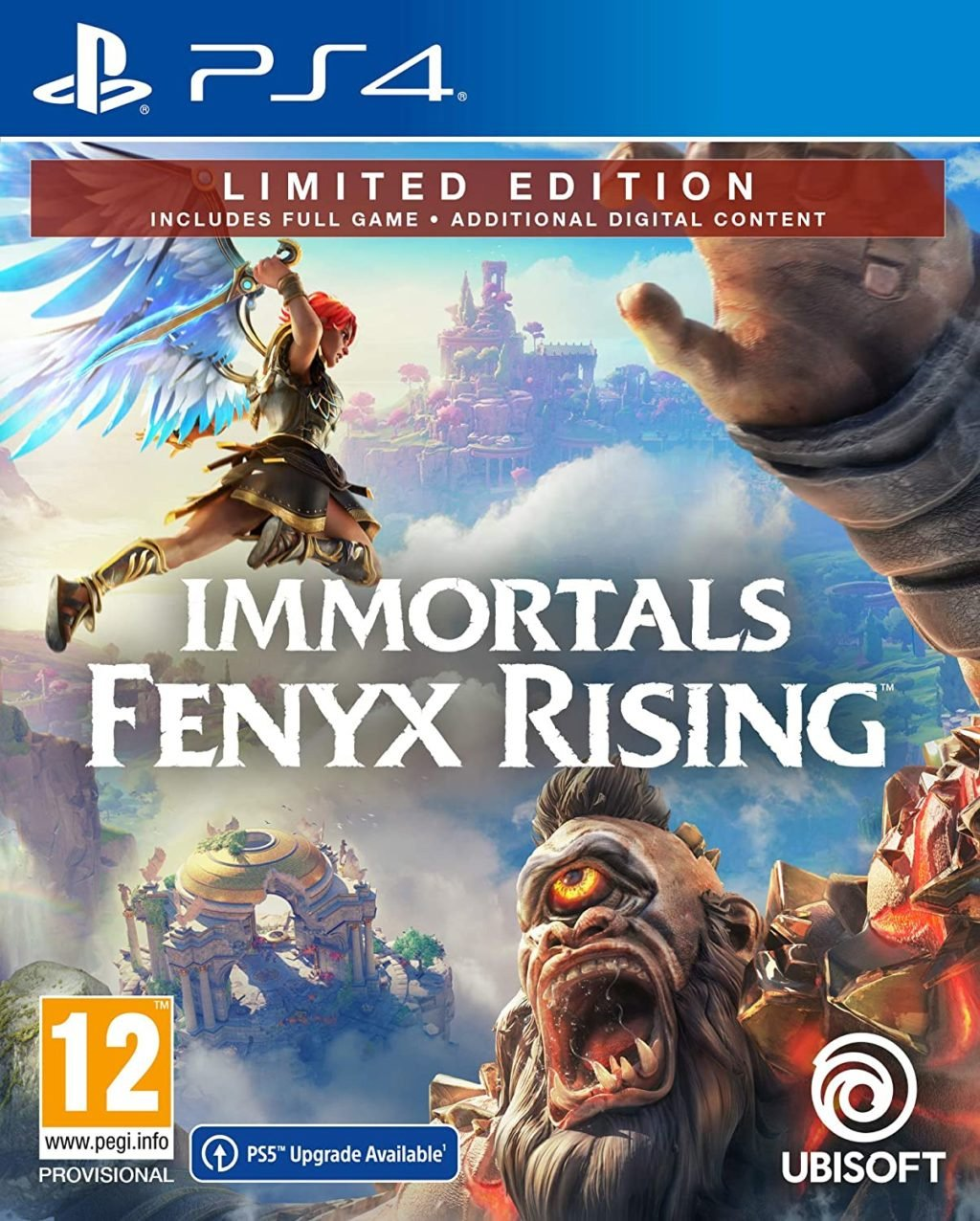 PS5 Upgrade Available on the Immortals Fenyx Rising box art