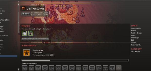 Jamestown Shortcut page in Steam