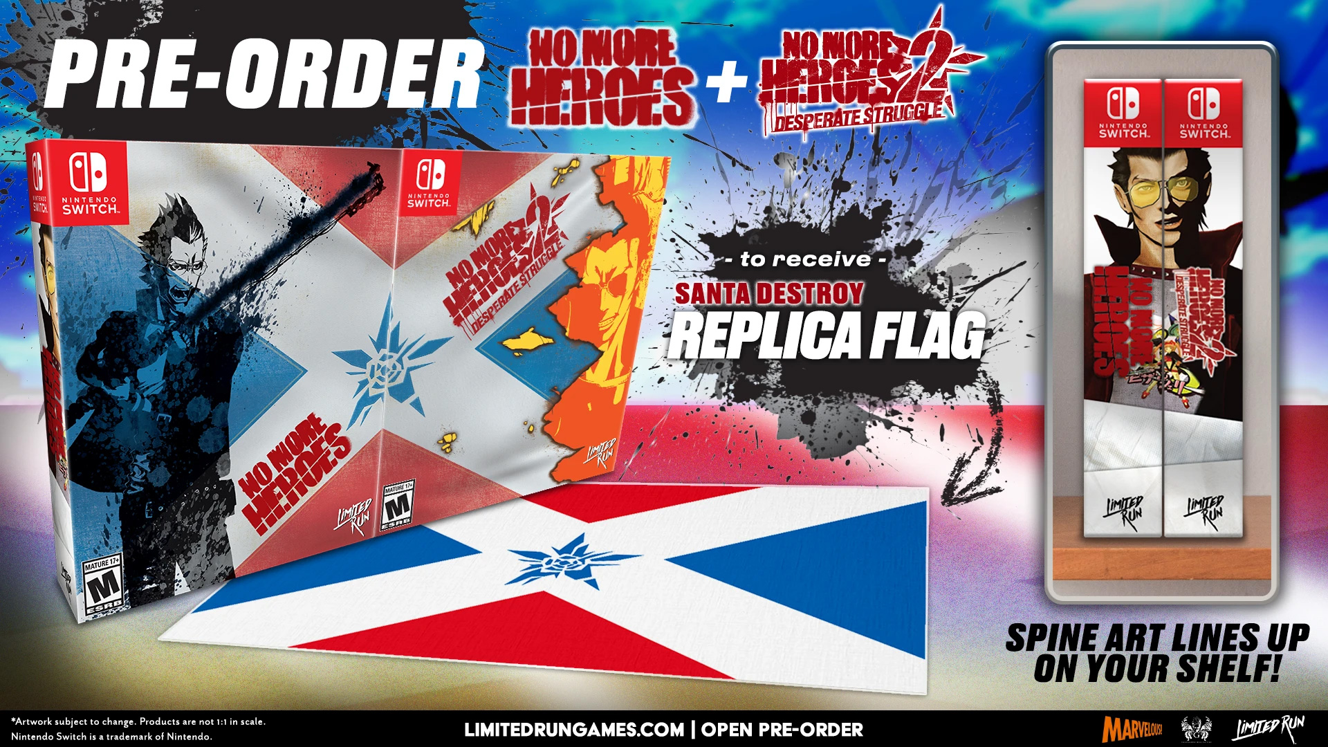 Limited Run's Santa Destroy Bundle comes with a flag.