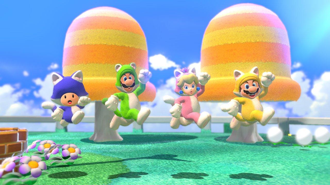 Cat Mario, Luigi, Peach, and Toad