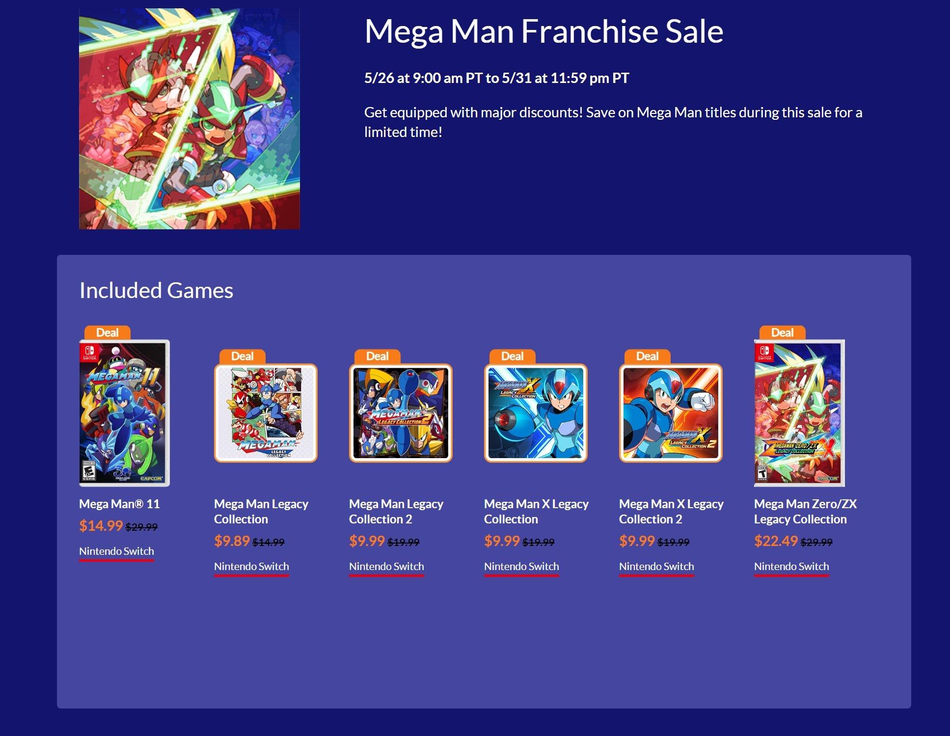Mega Man Switch sale