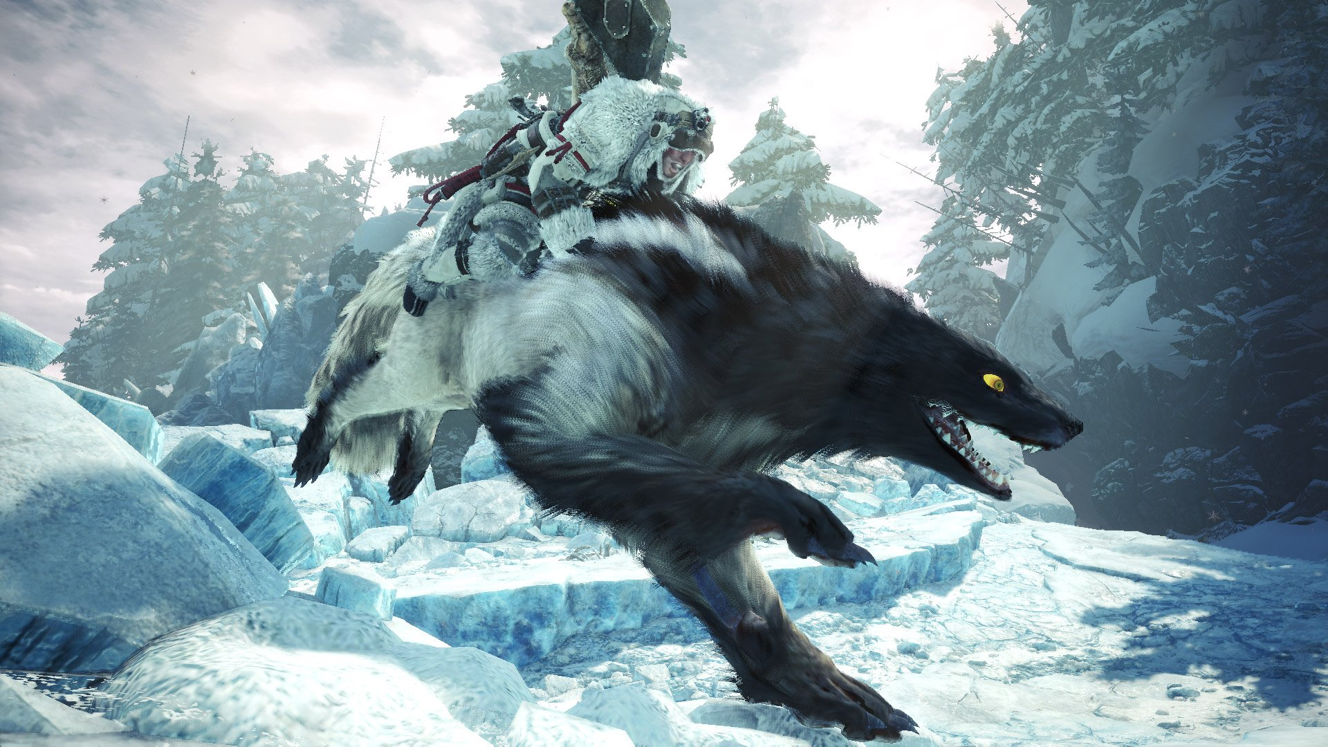 Riding a Wulg in Monster Hunter World: Iceborne