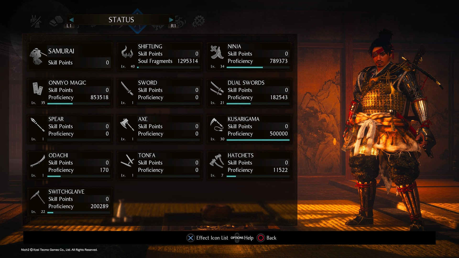 How to check your proficiency level in Nioh 2