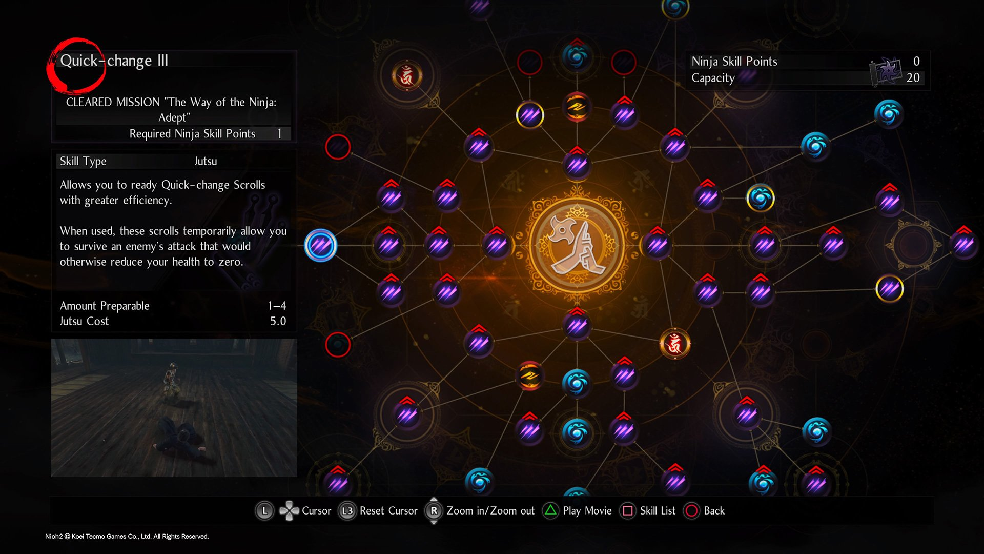 Where to find the Quick-Change Scroll on the Nioh 2 Ninjutsu skill tree