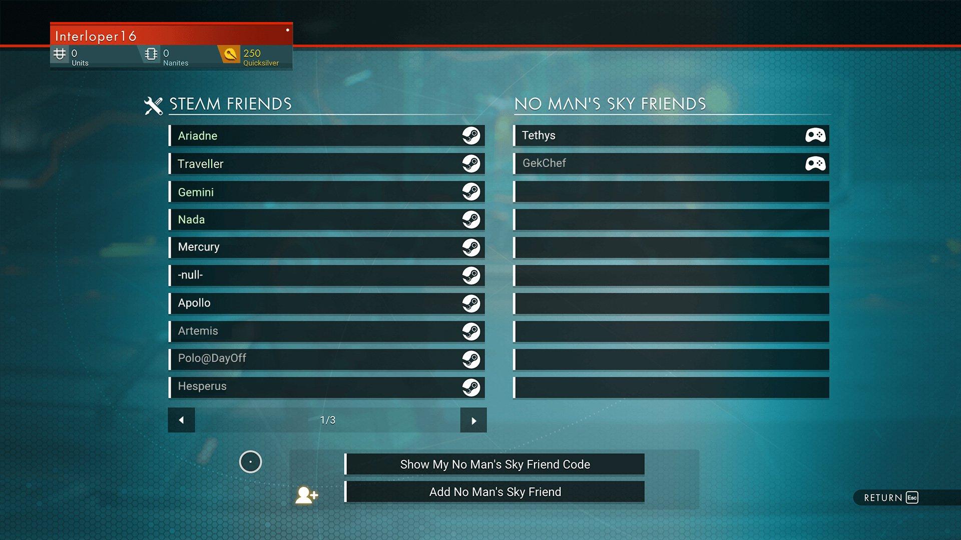 No Man's Sky Friends list