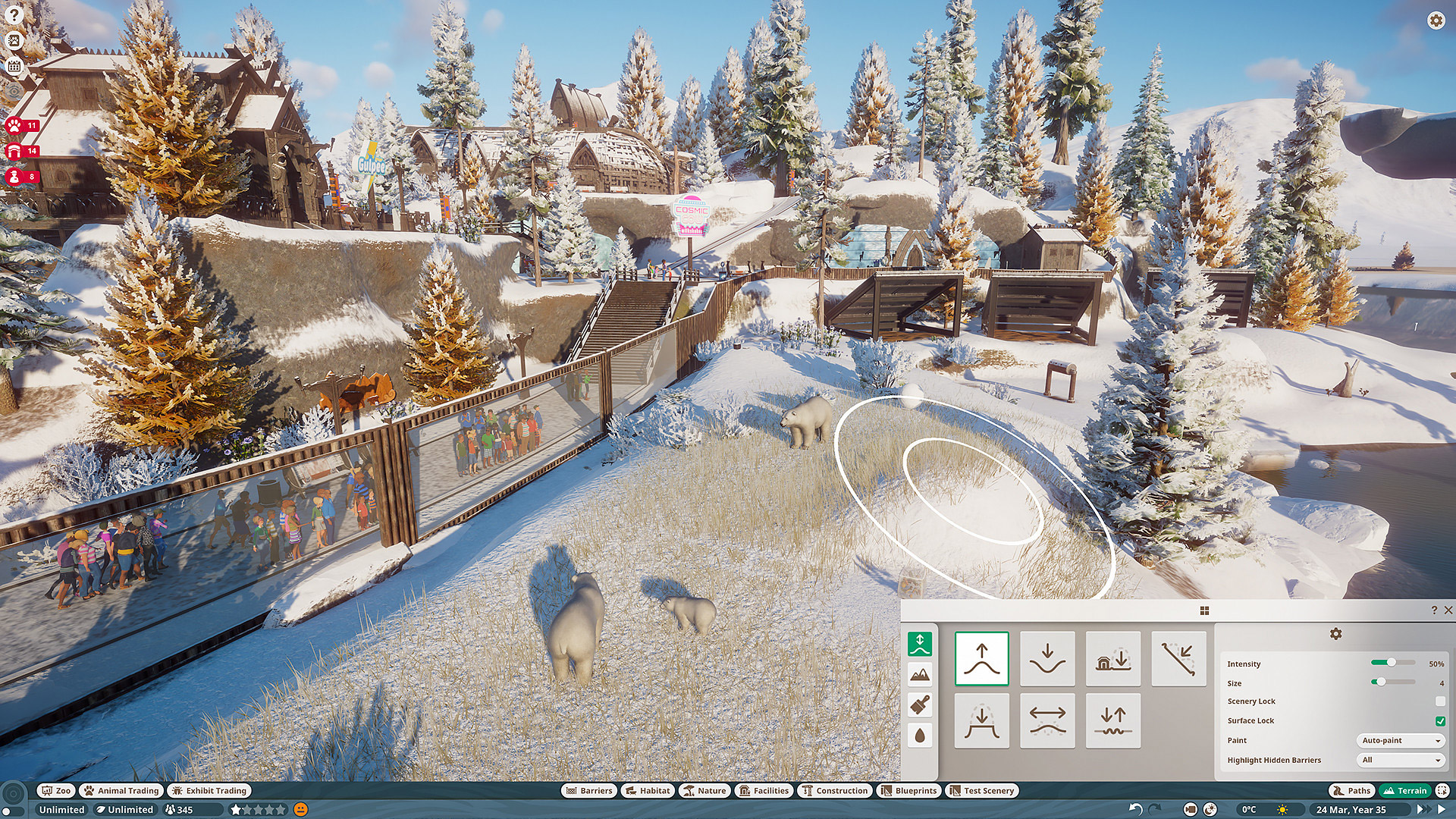 Polar bears need a ton of space in Planet Zoo.