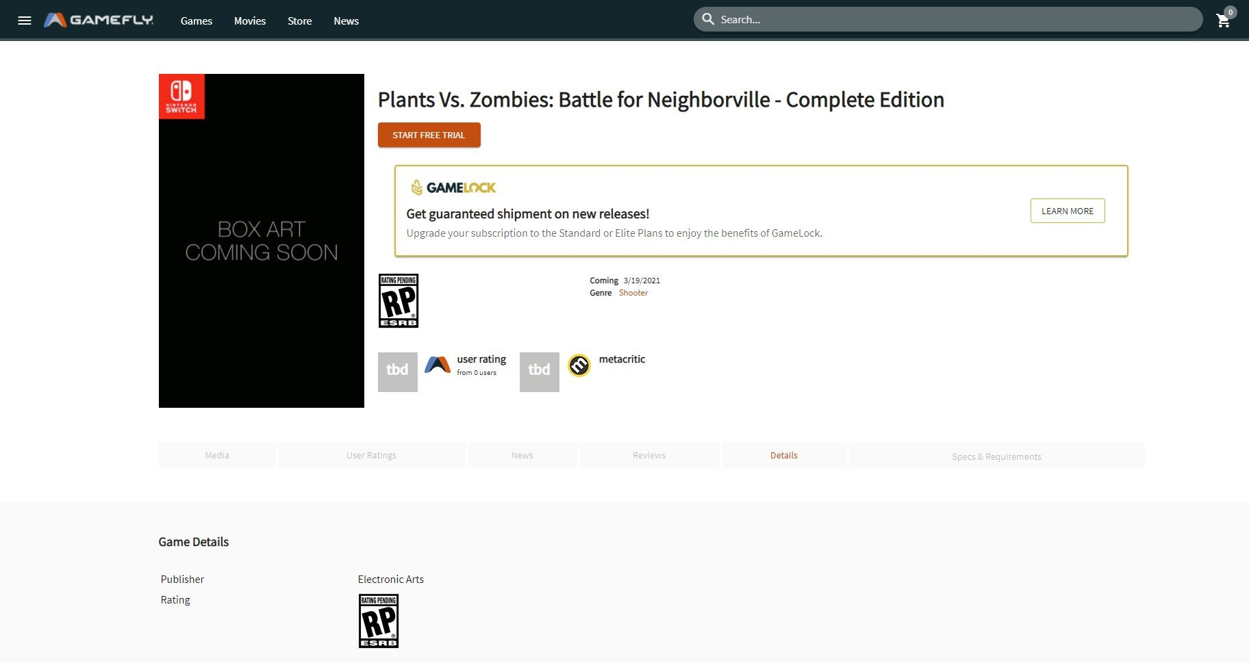The now-removed GameFly listing for Plants vs. Zombies: Battle for Neighborville - Complete Edition