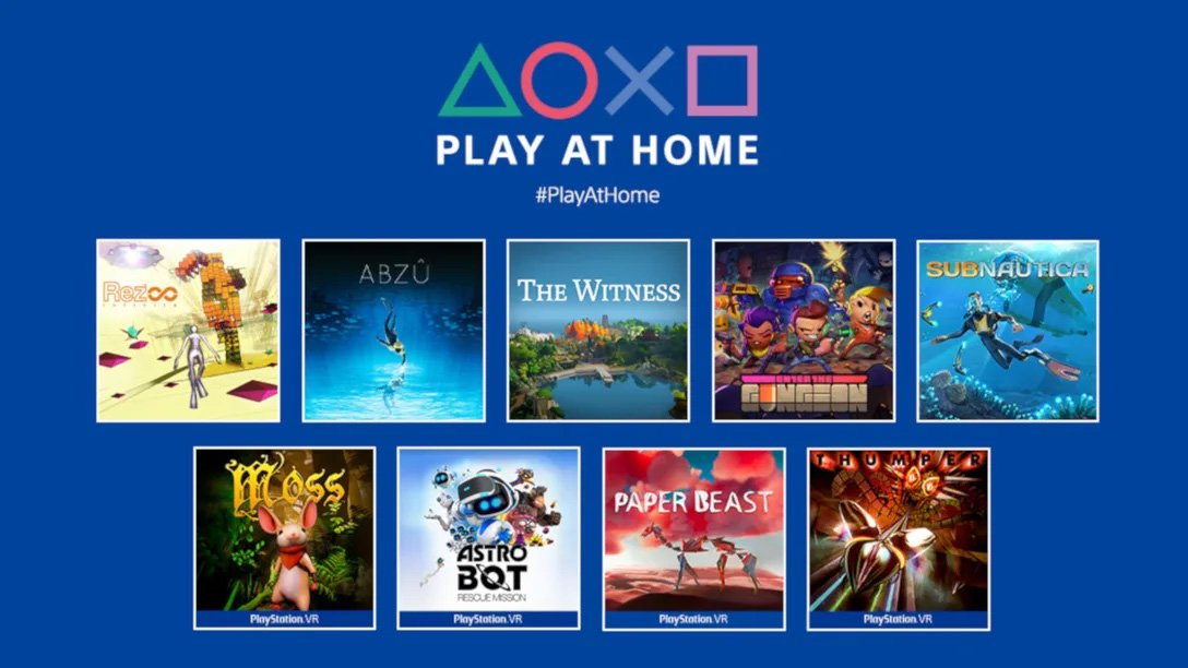 The Play At Home 2021 game list: Abzu, Enter the Gungeon, Rez Infinite, Subnautica, The Witness, Astro Bot Rescue Mission, Moss, Thumper, Paper Beast, and Horizon Zero Dawn: Complete Edition.