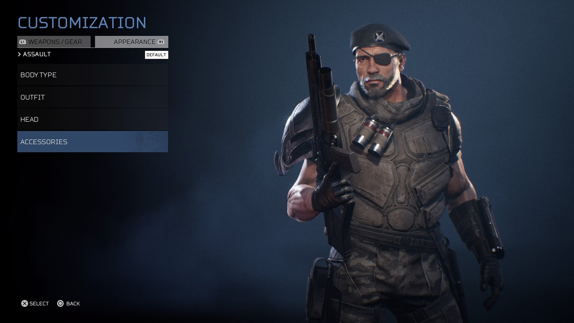 Dutch wearing an eyepatch in Predator: Hunting Grounds