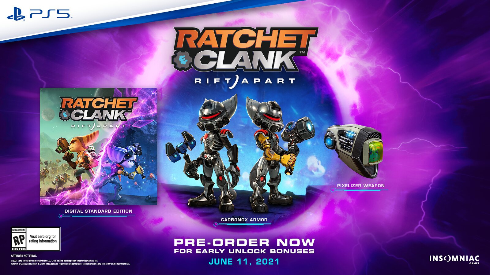 The pre-order bonuses for Ratchet & Clank: Rift Apart