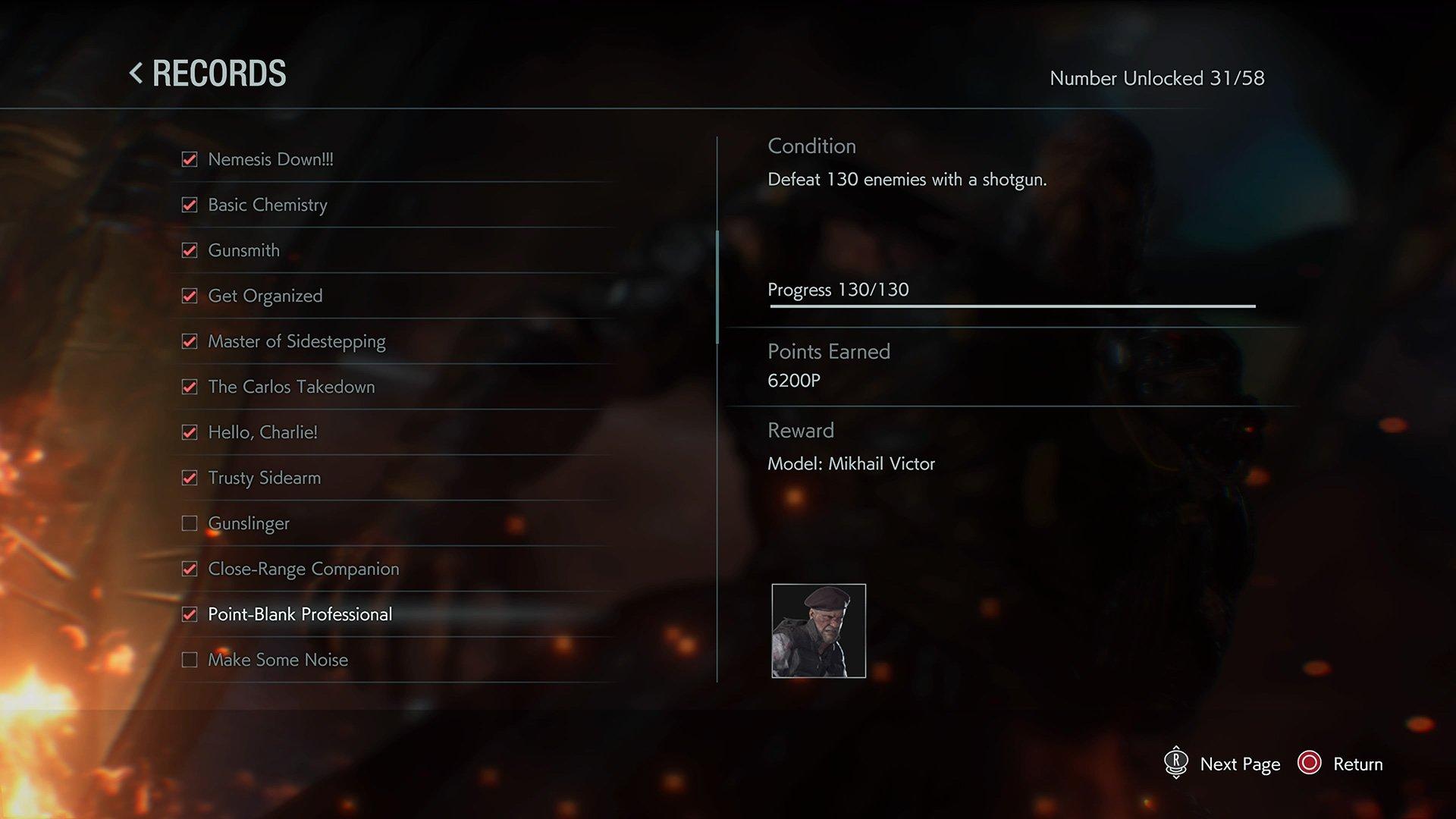 Resident Evil 3 record list