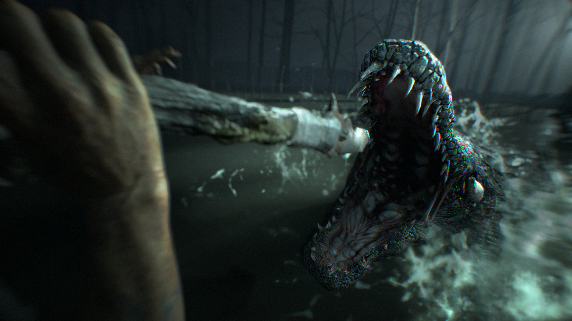 Throwing a spear at an alligator in End of Zoe.
