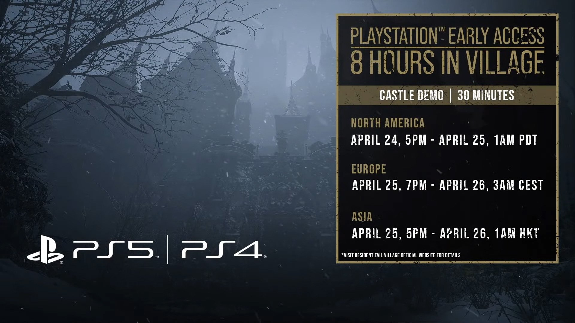 A schedule for the PS4/PS5 castle demo.