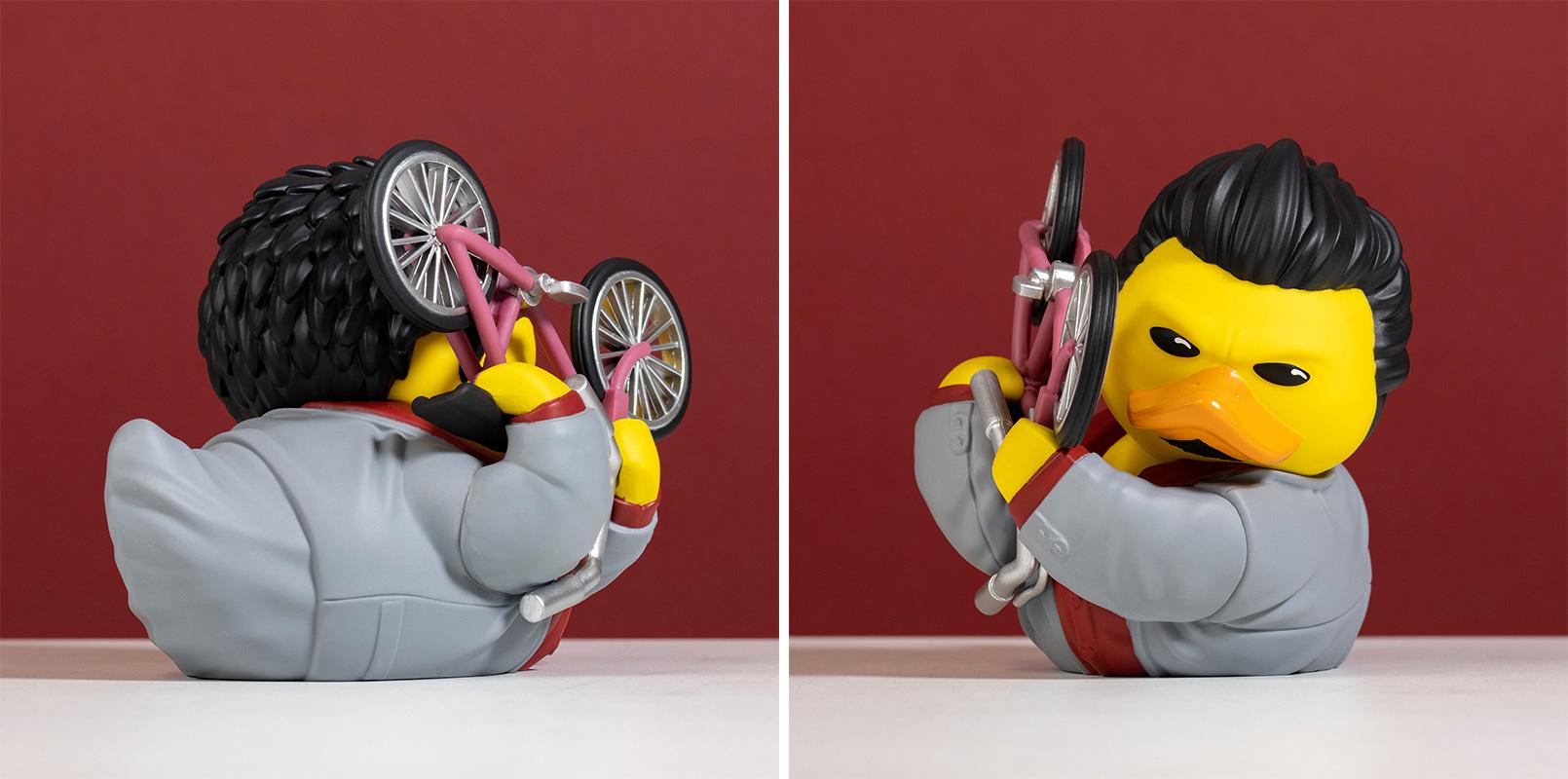 Photos of the front and back of the Kazuma Kiryu Tubbz duck.