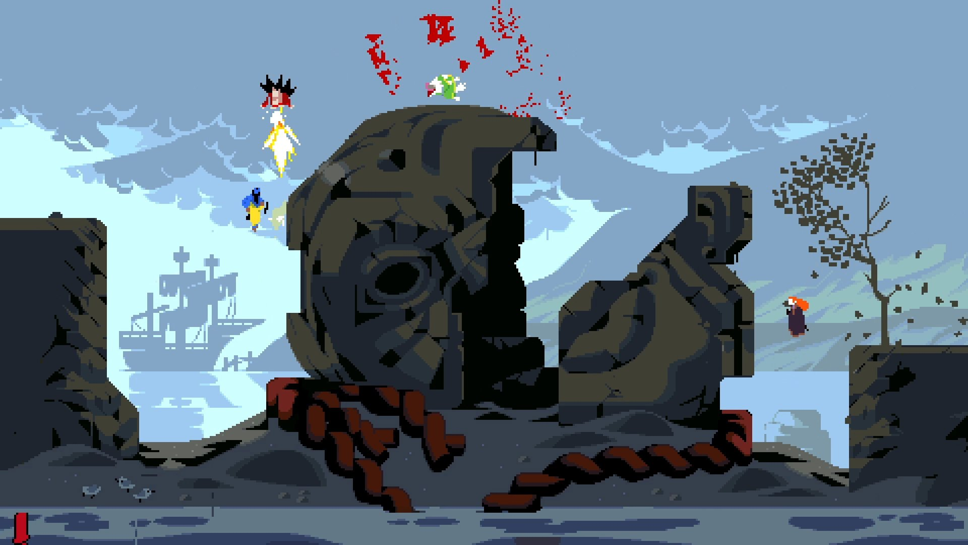 A four-player duel in front of a fallen statue's head.