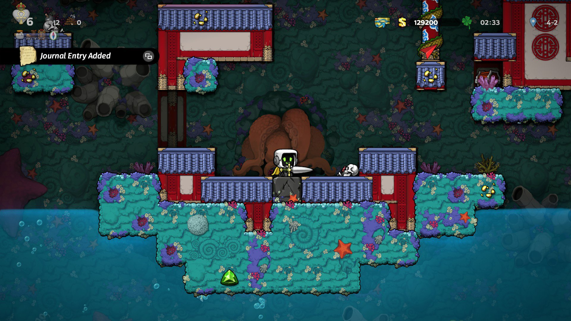 How to pull the Excalibur sword out of the stone in Spelunky 2