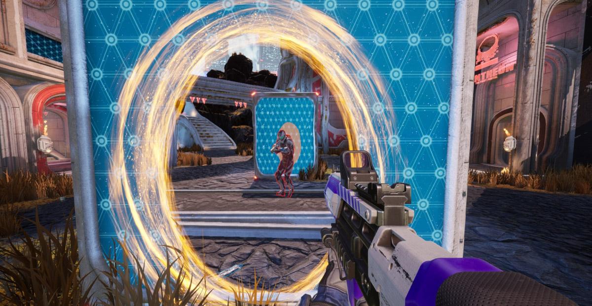 Shooting through portals in Splitgate: Arena Warfare