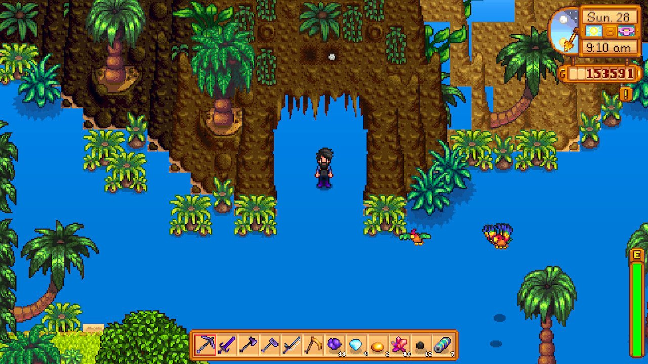 The blue floor bug really stands out on Ginger Island.