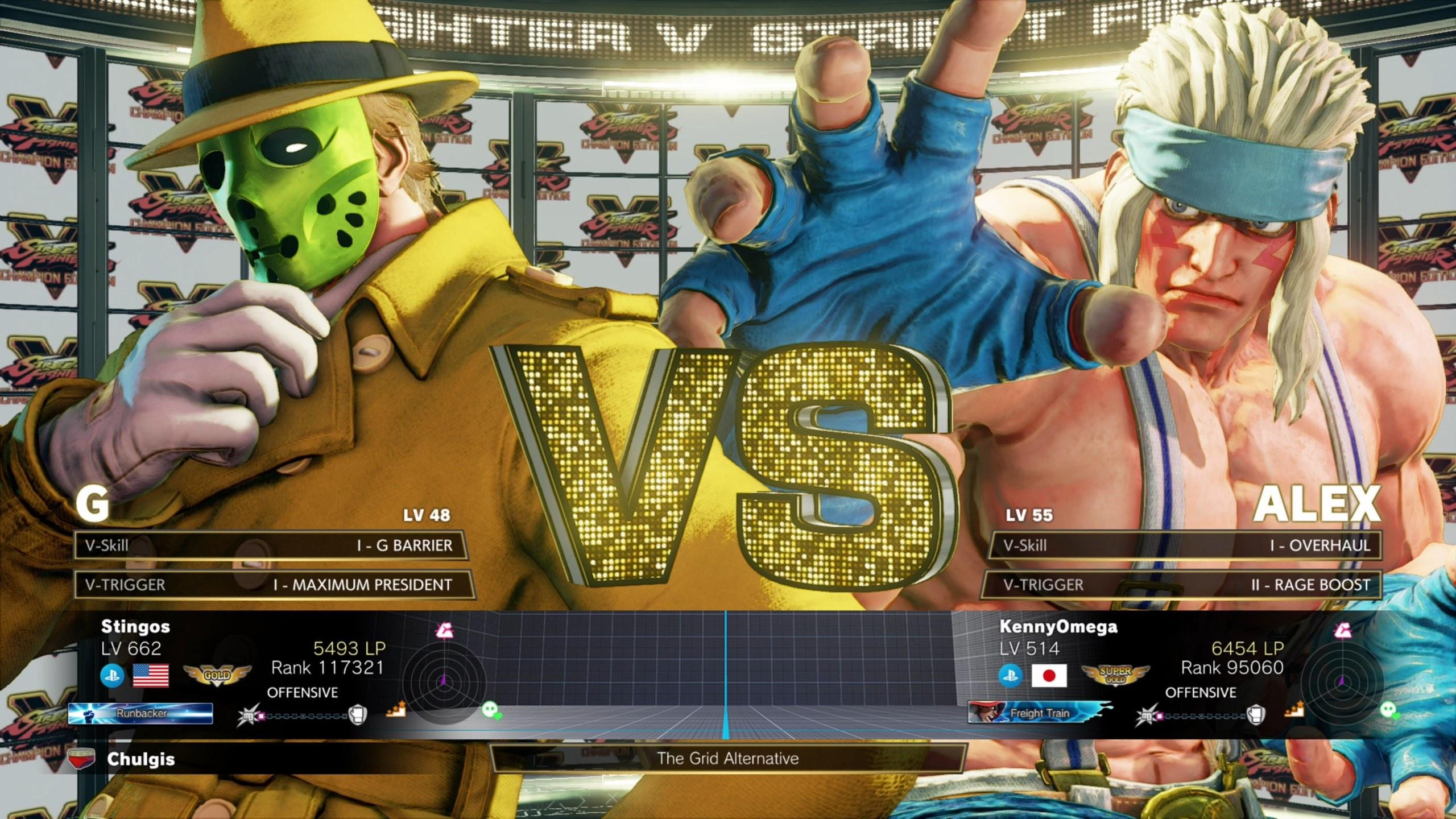 A Street Fighter V match against Kenny Omega playing as Alex.