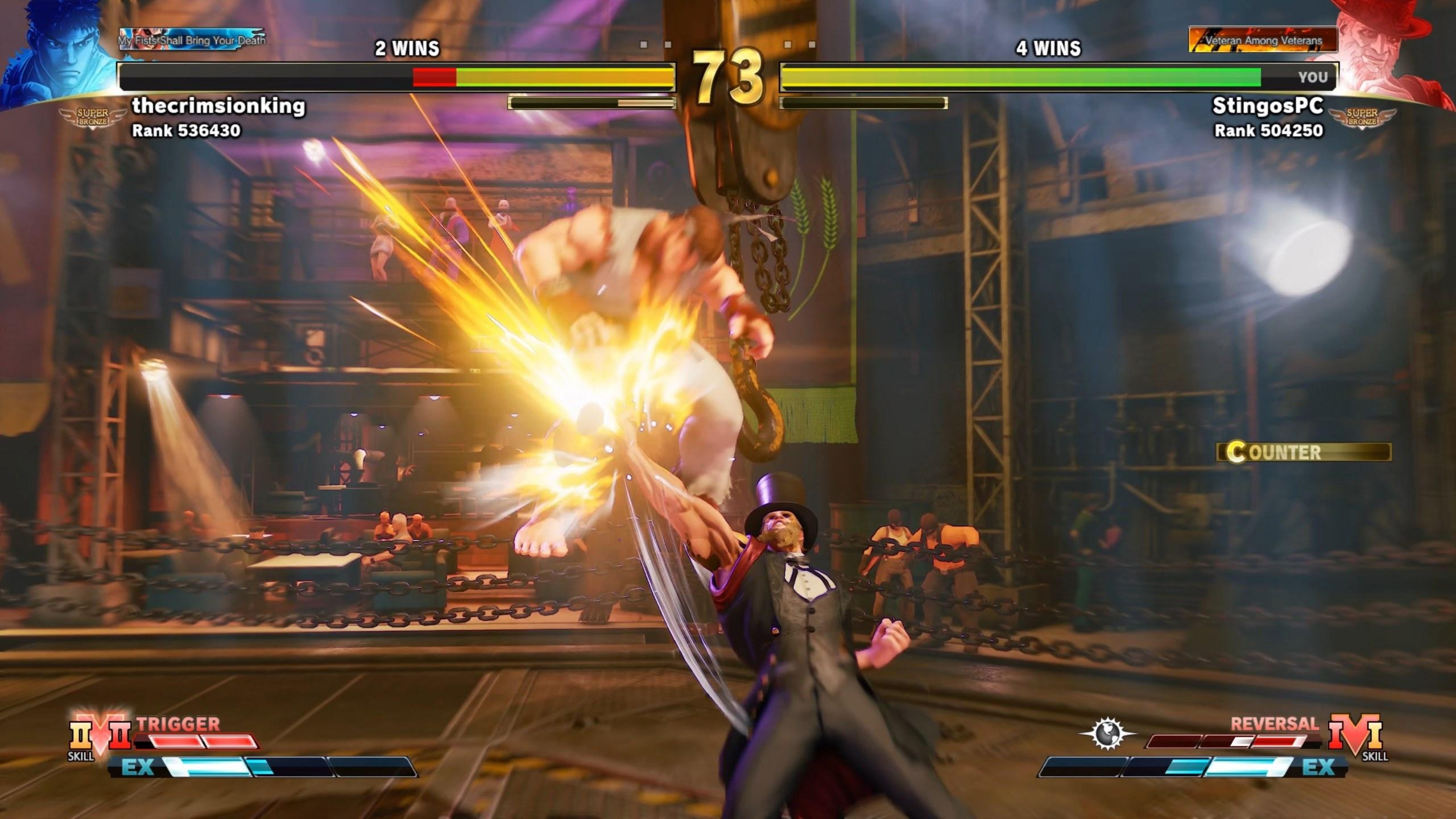 A ranked match in Street Fighter V with Ryu against G.