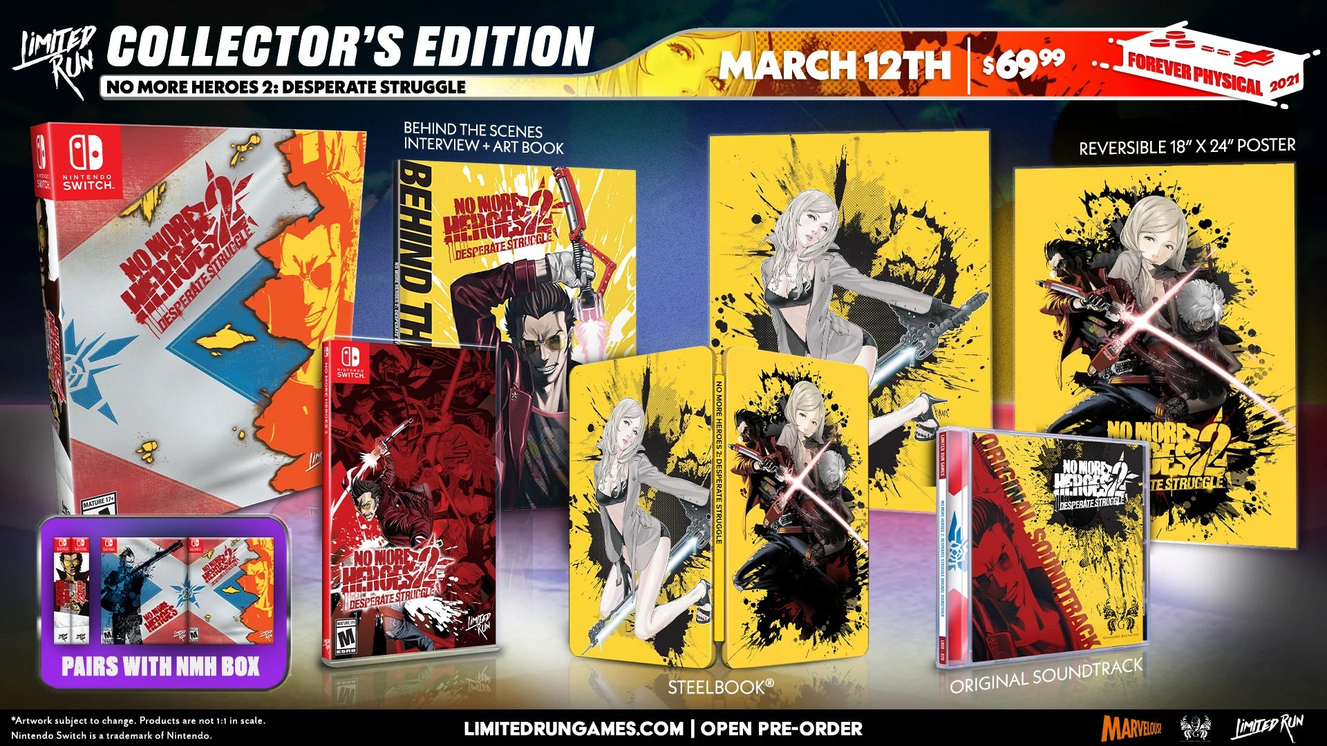 Limited Run's No More Heroes 2 Switch Collector's Edition goes on sale March 12, 2021.