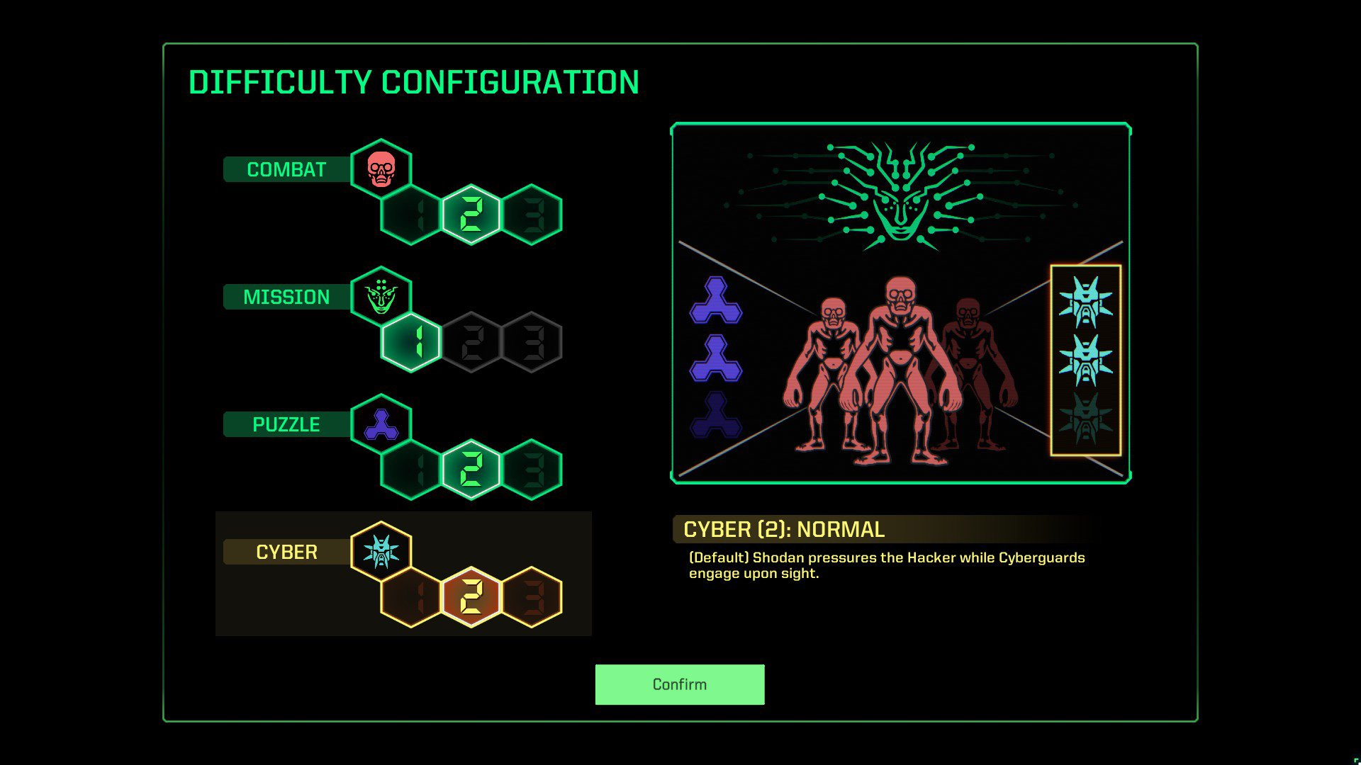 You can alter the combat, mission, puzzle, and cyber difficulty in System Shock (2021).