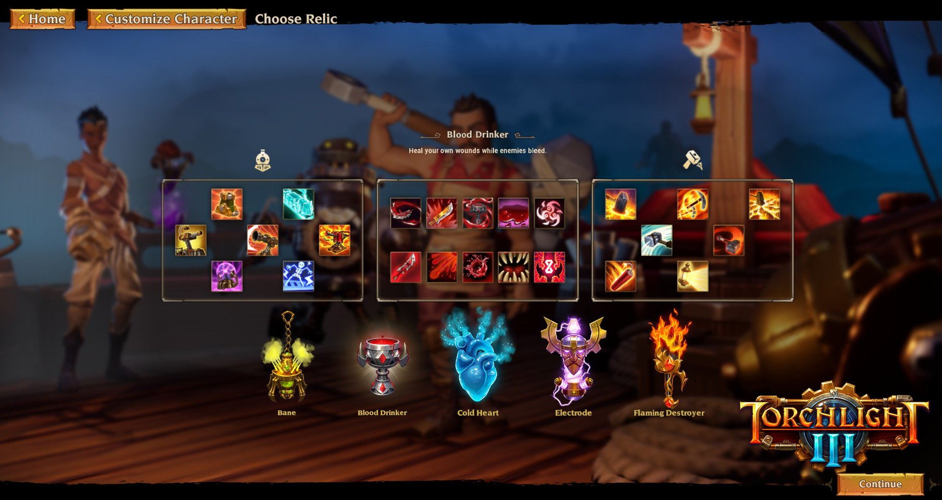 Each class in Torchlight III can choose one permanent Relic as their subclass