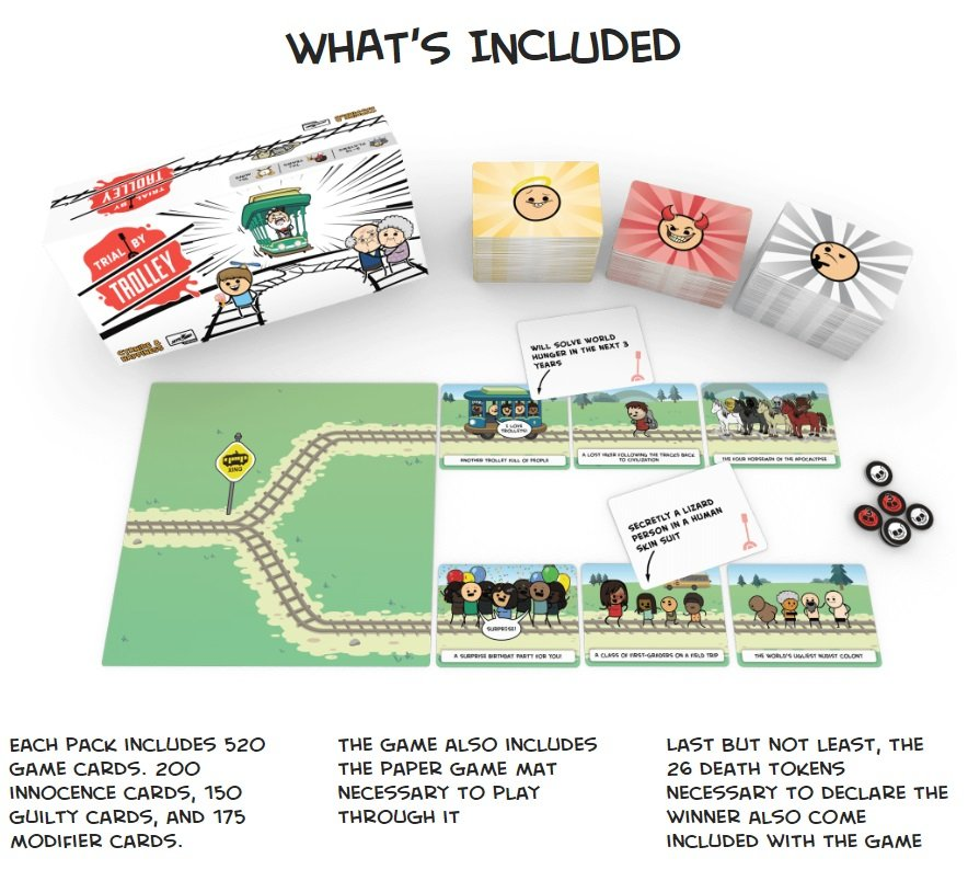 Trial by Trolley Cyanide & Happiness Board Game Card Game Contest