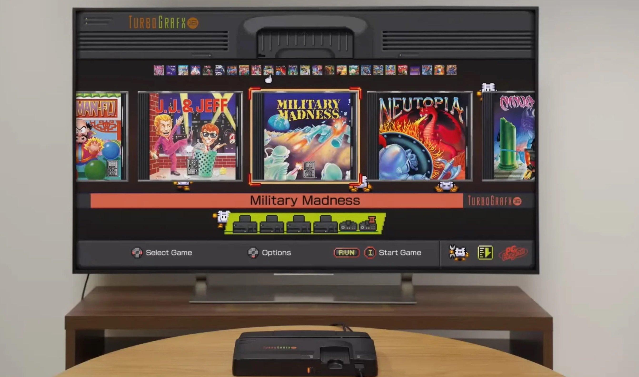 TurboGrafx-16 Mini menu interface