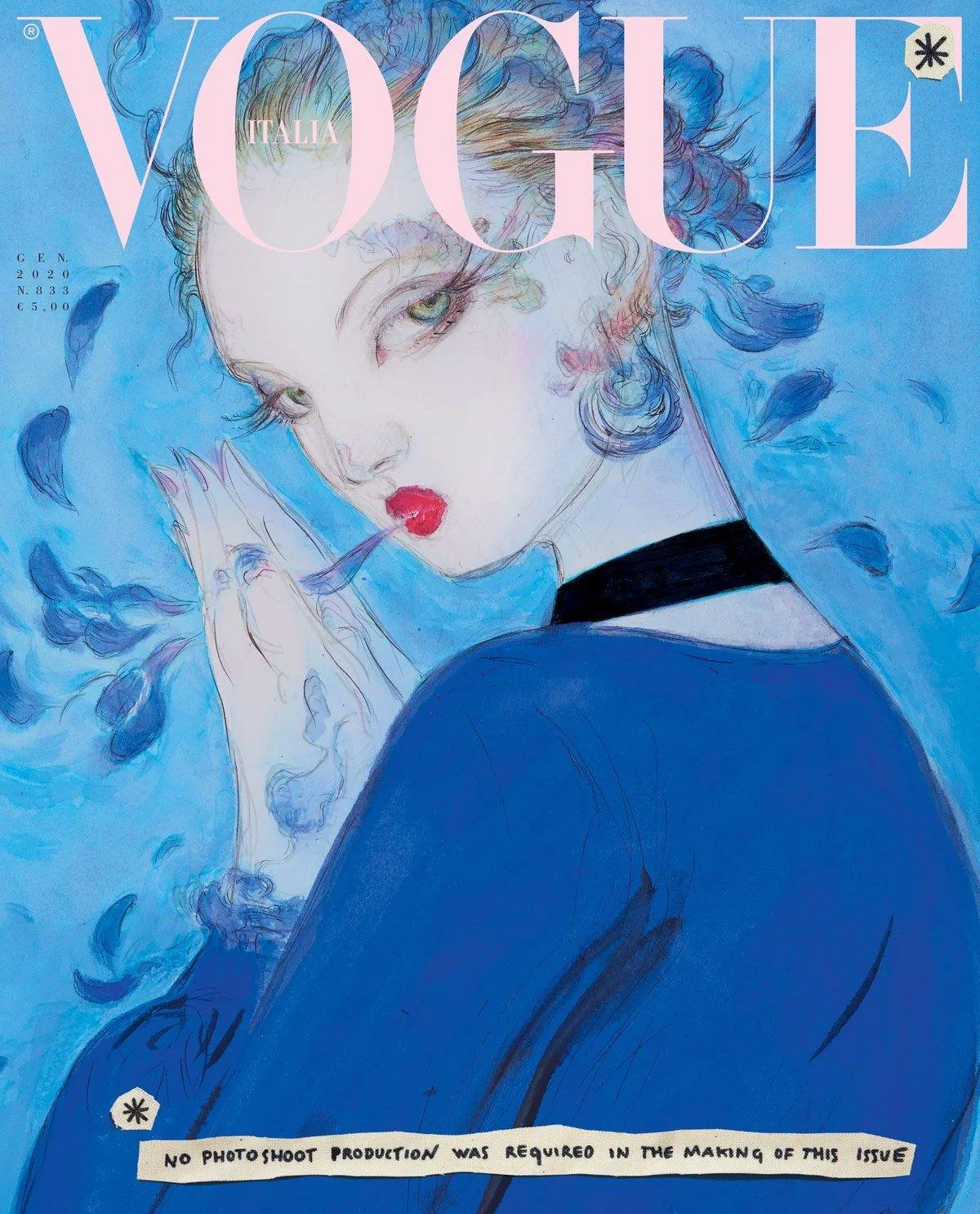Yoshitaka Amano's cover for Vogue Italia