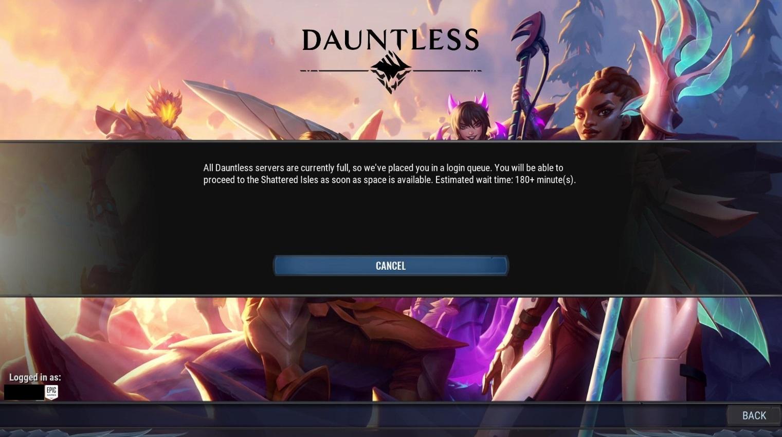 Dauntless servers full
