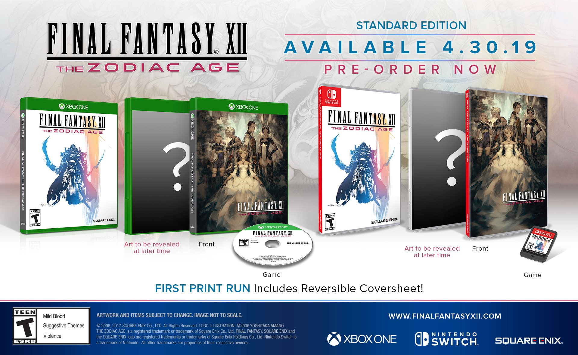 The physical Xbox One and Switch box art for FFXII