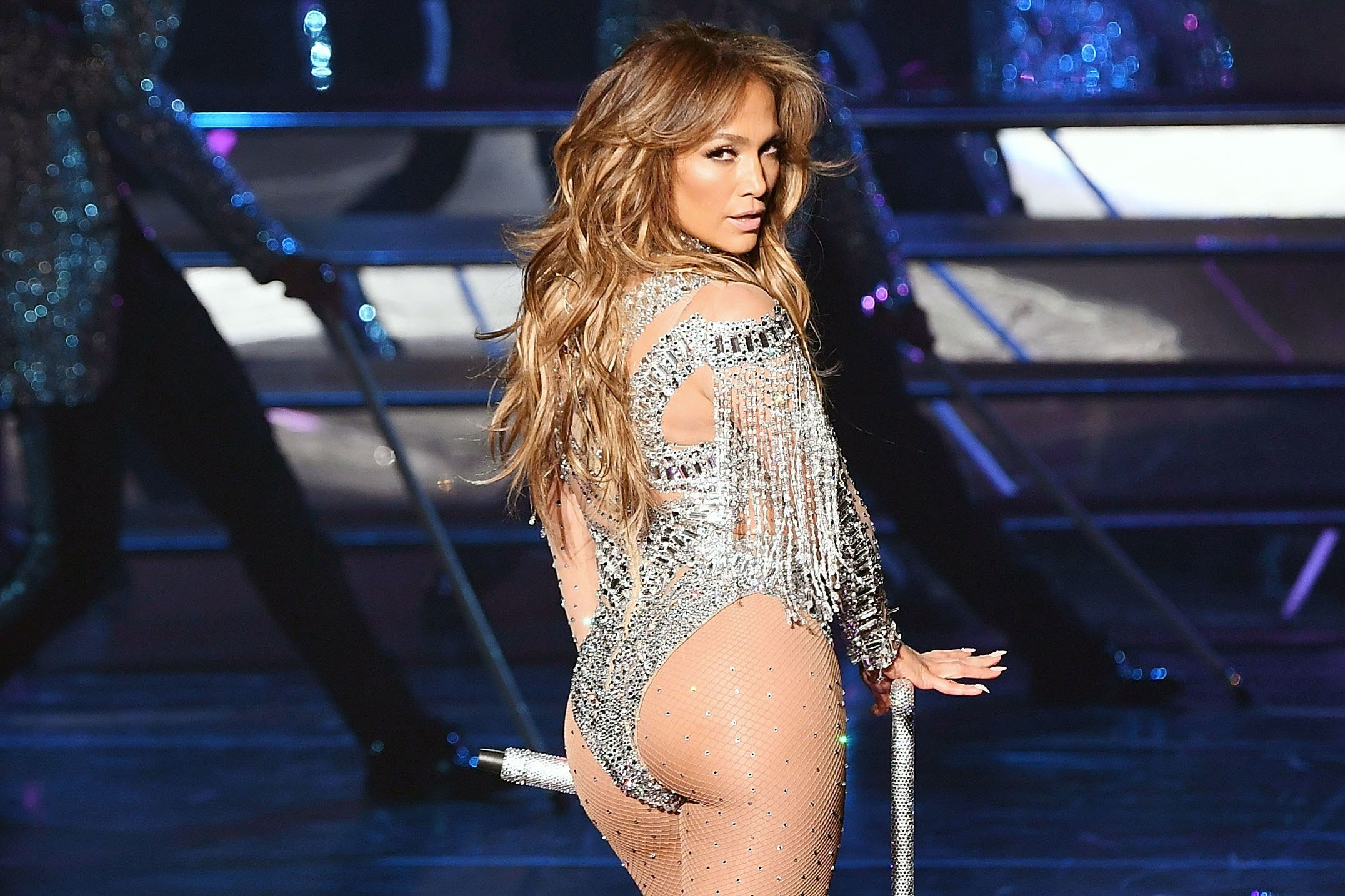 Tush cameo, from Jennifer Lopez, secret bearer, and champion of the moustache.