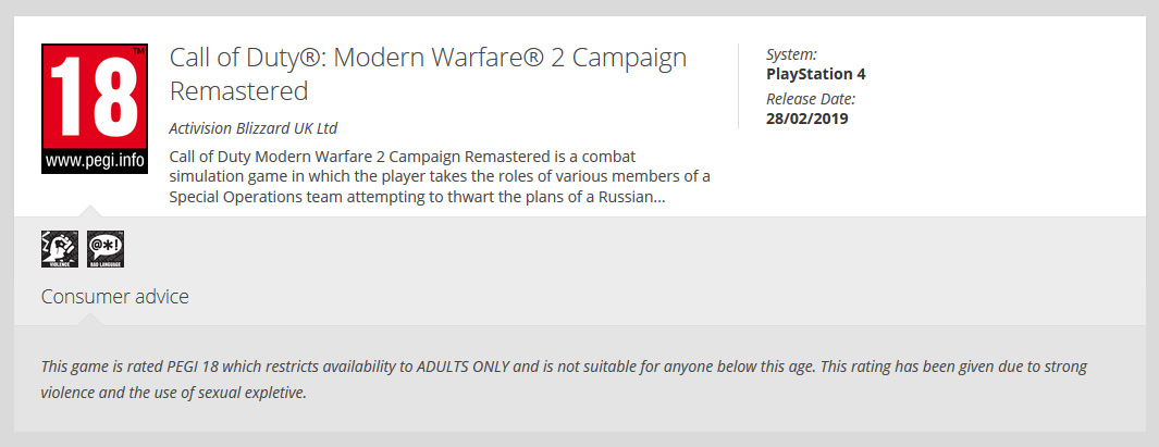 PEGI has rated Call of Duty: Modern Warfare 2 Campaign Remastered for PS4