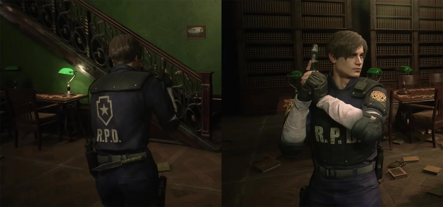 Leon Kennedy in his iconic R.P.D. attire (Resident Evil 2)