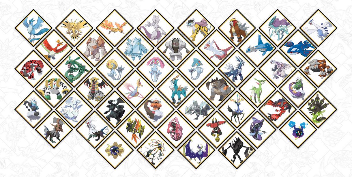 Legendary and mythical Pokemon roster